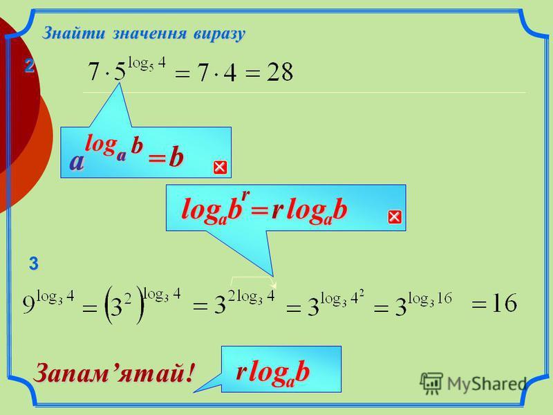 77log Знайти значення виразу rb a log = rb a log a a log = 1 rbalog Запамятай! aalog =144log66log11 1