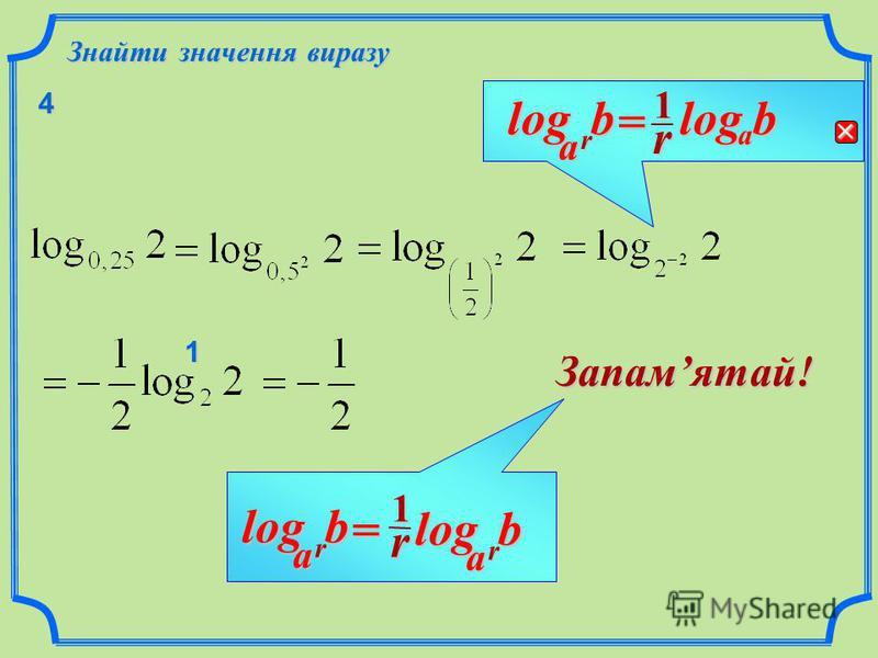 b Властивості логарифмів r a log r1 rbalog= Логарифм з основою, що є степенем