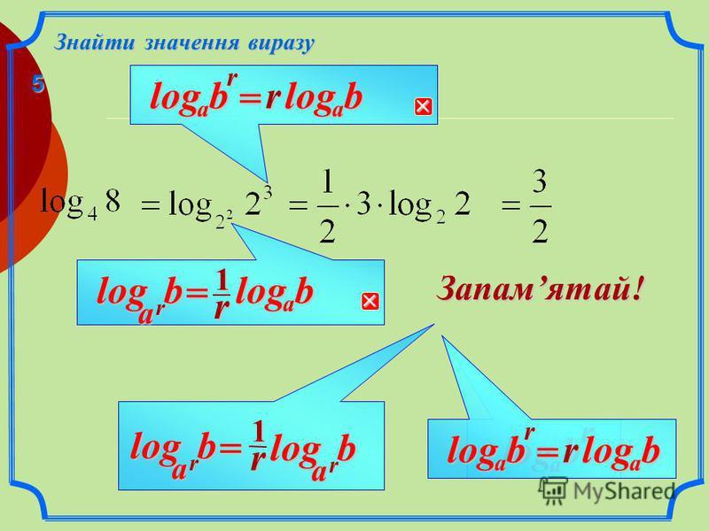 b Знайти значення виразу r b a log = r b a log1r a log Запамятай! r1 rbalog= 1 4