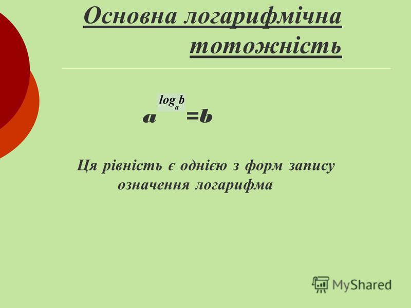 Означення логарифма Логарифмом числа b> 0 за основою a> 0, a 1, називається показник степеня, до якого треба піднести число a, щоб отримати число b. Логарифм числа b за основою a позначається log a b