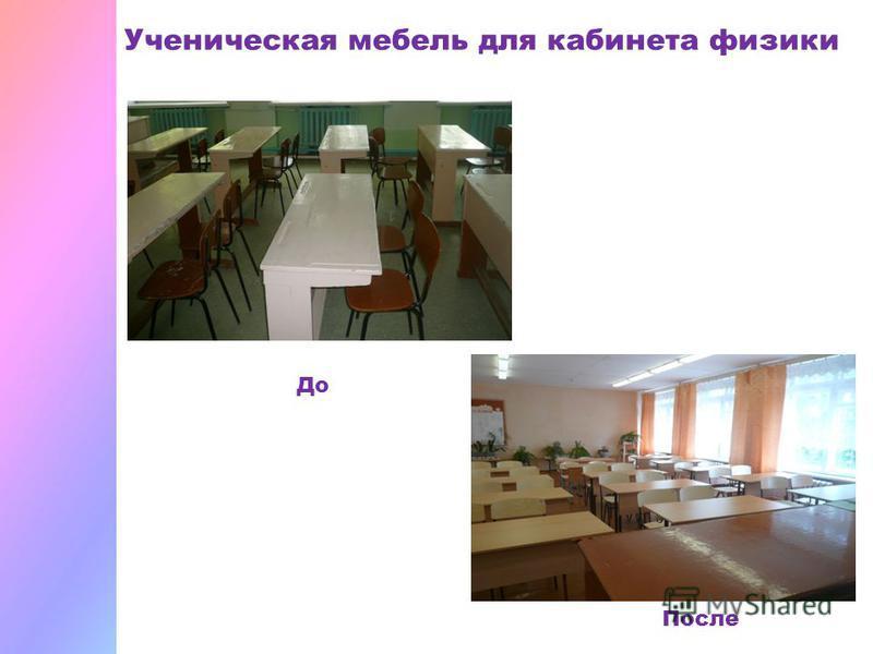 Ученическая мебель для кабинета физики До После