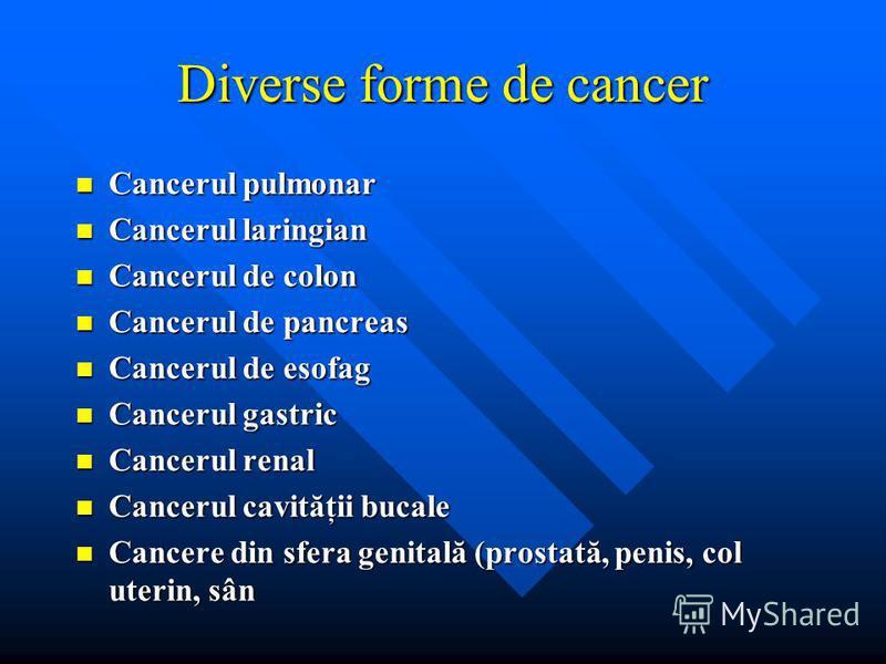 Diverse forme de cancer Cancerul pulmonar Cancerul pulmonar Cancerul laringian Cancerul laringian Cancerul de colon Cancerul de colon Cancerul de pancreas Cancerul de pancreas Cancerul de esofag Cancerul de esofag Cancerul gastric Cancerul gastric Ca