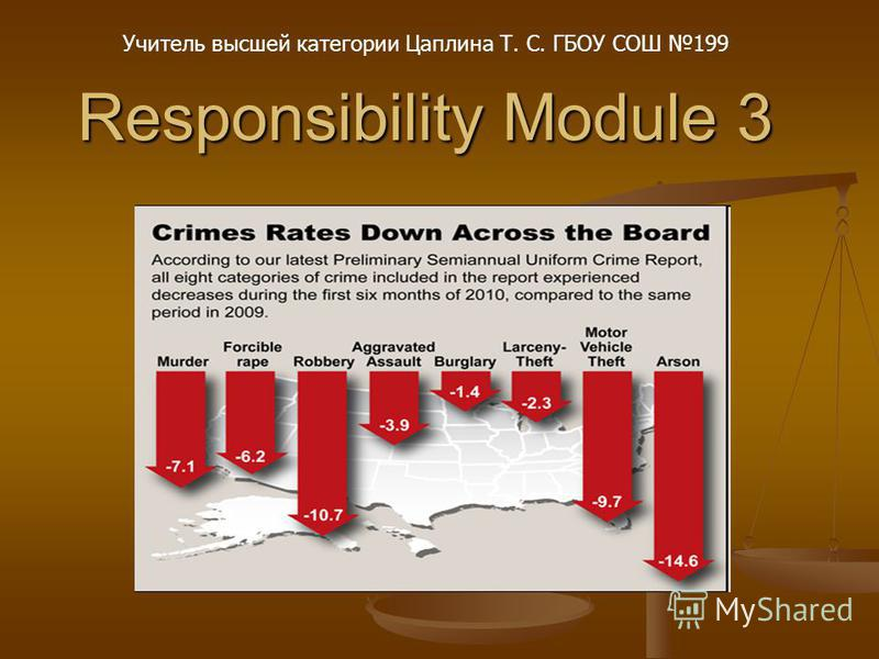 Responsibility Module 3 Учитель высшей категории Цаплина Т. С. ГБОУ СОШ 199