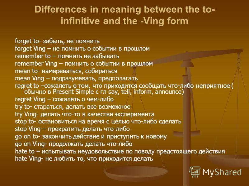Differences in meaning between the to- infinitive and the -Ving form forget to- забыть, не помнить forget Ving – не помнить о событии в прошлом remember to – помнить не забывать remember Ving – помнить о событии в прошлом mean to- намереваться, собир