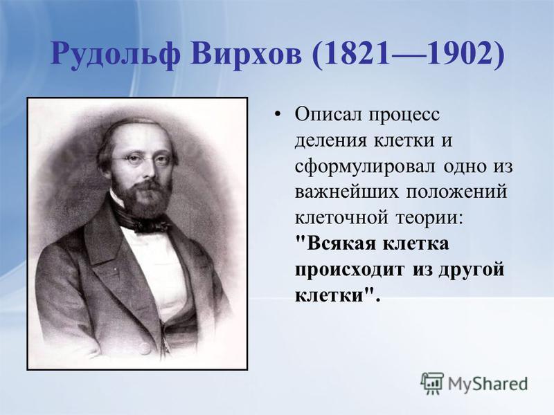 Рудольф Вирхов (18211902) Описал процесс деления клетки и сформулировал одно из важнейших положений клеточной теории: Всякая клетка происходит из другой клетки.