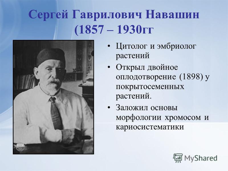 Сергей Гаврилович Навашин (1857 – 1930 гг Цитолог и эмбриолог растений Открыл двойное оплодотворение (1898) у покрытосеменных растений. Заложил основы морфологии хромосом и кариосистематики