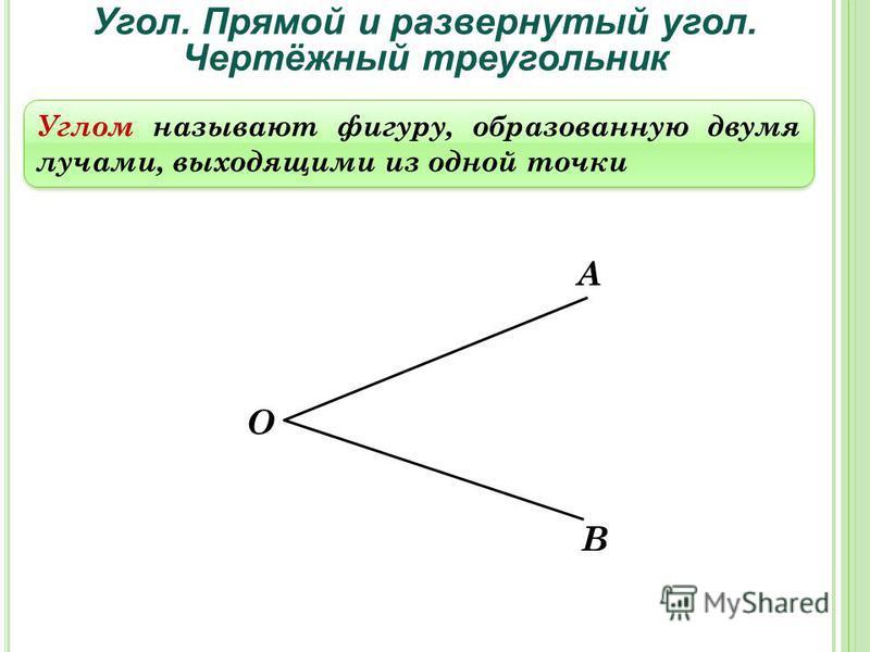 Угол. Прямой и развернутый угол. Чертёжный треугольник Углом называют фигуру, образованную двумя лучами, выходящими из одной точки А О В