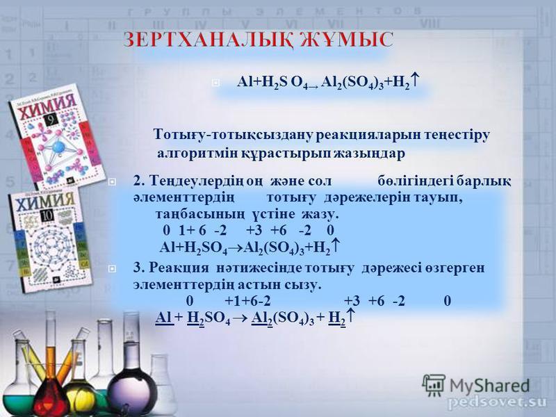 Al+H 2 S O 4 Al 2 (SO 4 ) 3 +H 2 Тотығу-тотықсыздану реакцияларын теңестіру алгоритмін құрастырып жазыңдар 2. Теңдеулердің оң және сол бөлігіндегі барлық әлементтердің тотығу дәрежелерін тауып, таңбасының үстіне жазу. 0 1+ 6 -2 +3 +6 -2 0 Al+H 2 SO 4