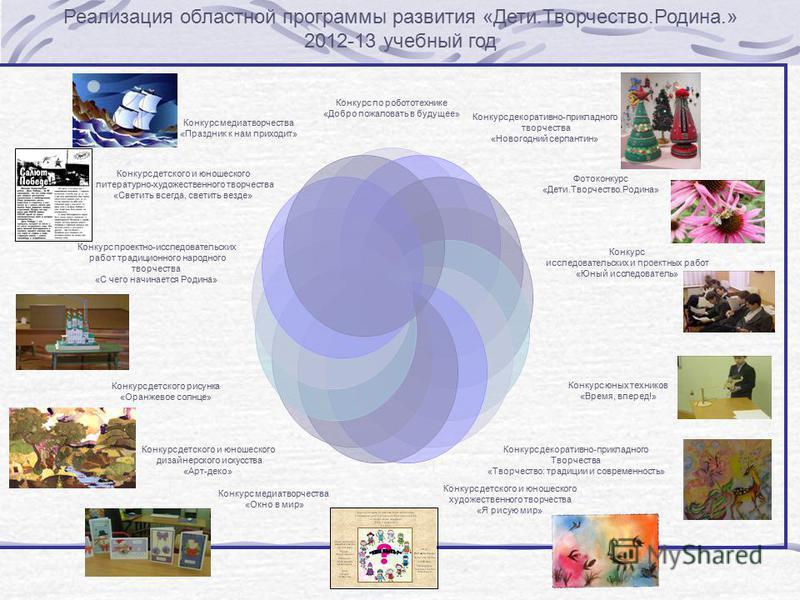 Реализация областной программы развития «Дети.Творчество.Родина.» 2012-13 учебный год