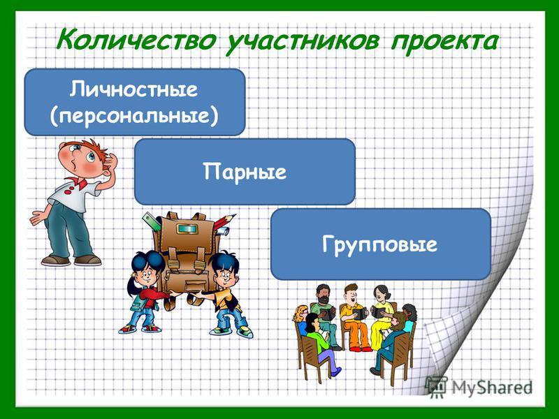 Количество участников проекта Личностные (персональные) Парные Групповые