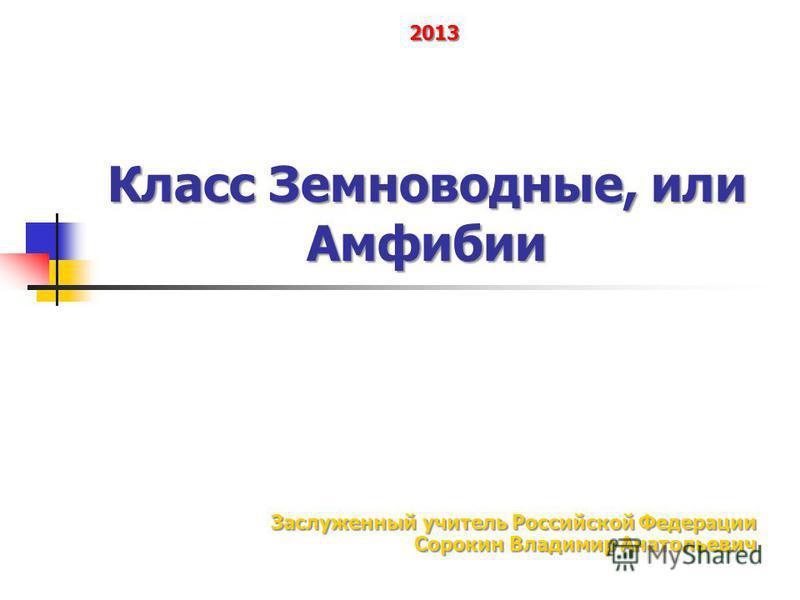 Класс Земноводные, или Амфибии Заслуженный учитель Российской Федерации Сорокин Владимир Анатольевич 2013