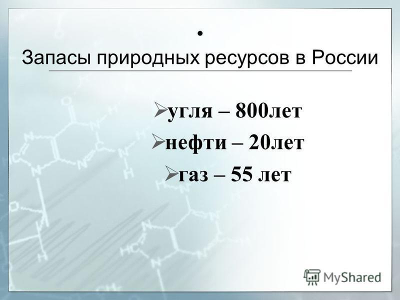 Запасы природных ресурсов в России угля – 800 лет нефти – 20 лет газ – 55 лет