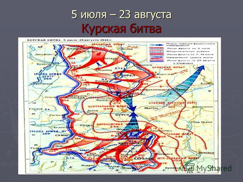 5 июля – 23 августа Курская битва