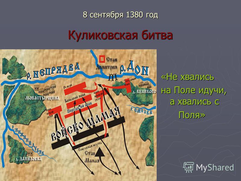 8 сентября 1380 год Куликовская битва «Не хвались на Поле идучи, а хвались с Поля»