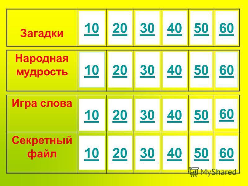 Игра слова Секретный файл 40 50 60 10 20 30 Загадки 203040506010 Народная мудрость 102030405060