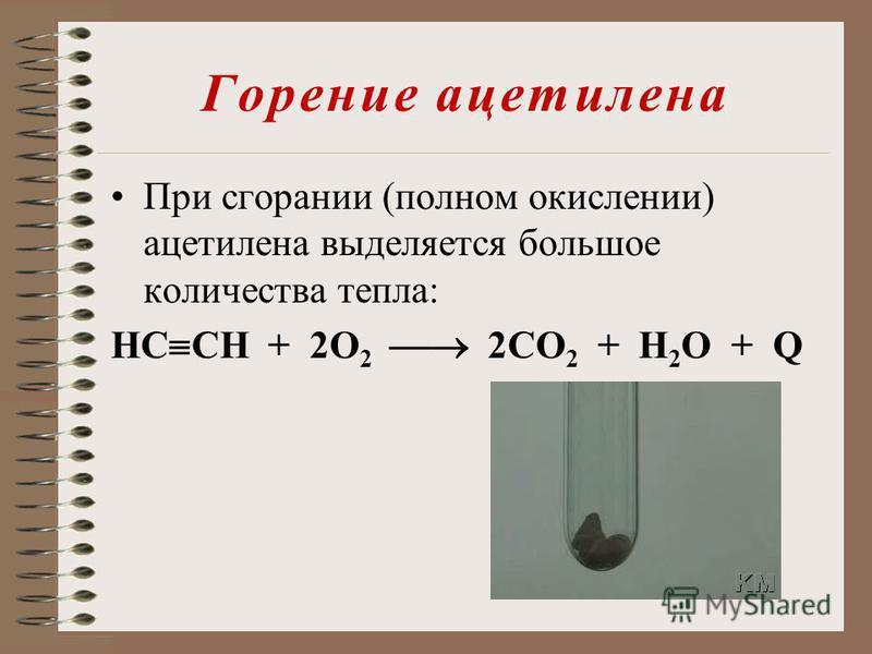 Горение ацетилена При сгорании (полном окислении) ацетилена выделяется большое количества тепла: HC CH + 2О 2 2СО 2 + Н 2 О + Q