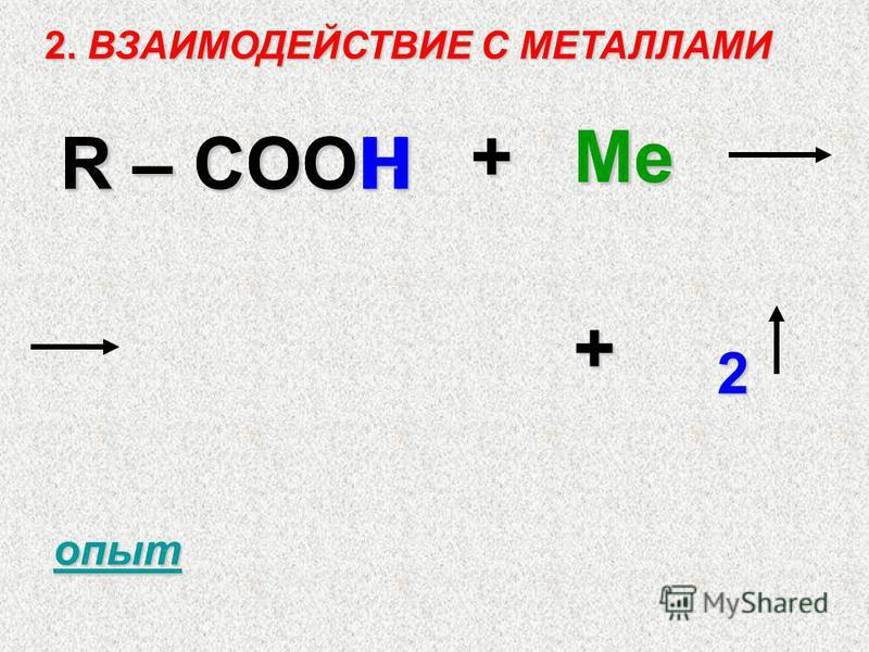 2. ВЗАИМОДЕЙСТВИЕ С МЕТАЛЛАМИ R – COOH +Ме + 2 R – COO H Ме опыт