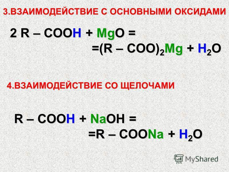 3. ВЗАИМОДЕЙСТВИЕ С ОСНОВНЫМИ ОКСИДАМИ 2 R – COOH + MgO = =(R – COO) 2 Mg + H 2 O =(R – COO) 2 Mg + H 2 O 4. ВЗАИМОДЕЙСТВИЕ СО ЩЕЛОЧАМИ R – COOH + NaOH = =R – COONa + H 2 O =R – COONa + H 2 O