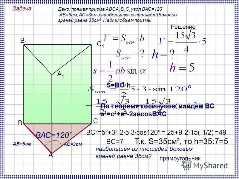 Задача Дано: прямая призма ABCA 1 B 1 C 1 угол ВАС=120˚ АВ=5 см, АС=3 см и наибольшая из площадей боковых граней равна 35 см 2. Найти объем призмы. А В С В1В1 А1А1 С1С1 Решение ВАС=120˚ АВ=5 см АС=3 см наибольшая из площадей боковых граней равна 35 с