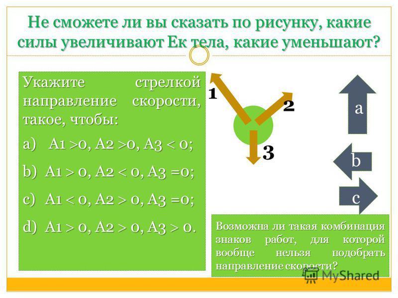 Не сможете ли вы сказать по рисунку, какие силы увеличивают Ек тела, какие уменьшают? Укажите стрелкой направление скорости, такое, чтобы: a) А1 0, А2 0, А3 0; b)А1 0, А2 0, А3 =0; c)А1 0, А2 0, А3 =0; d)А1 0, А2 0, А3 0. 1 3 2 а b с Возможна ли така