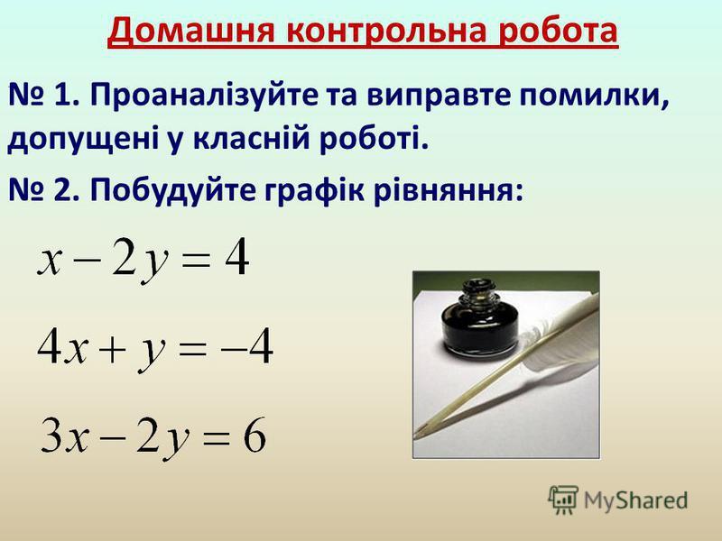 Домашня контрольна робота 1. Проаналізуйте та виправте помилки, допущені у класній роботі. 2. Побудуйте графік рівняння:.