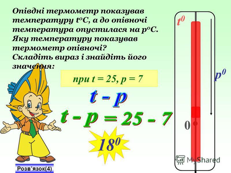 t0t0 0 p0p0 Опівдні термометр показував температуру t 0 C, а до опівночі температура опустилася на р 0 С. Яку температуру показував термометр опівночі? Складіть вираз і знайдіть його значення: при t = 25, р = 7 Розвязок(4) 18 0