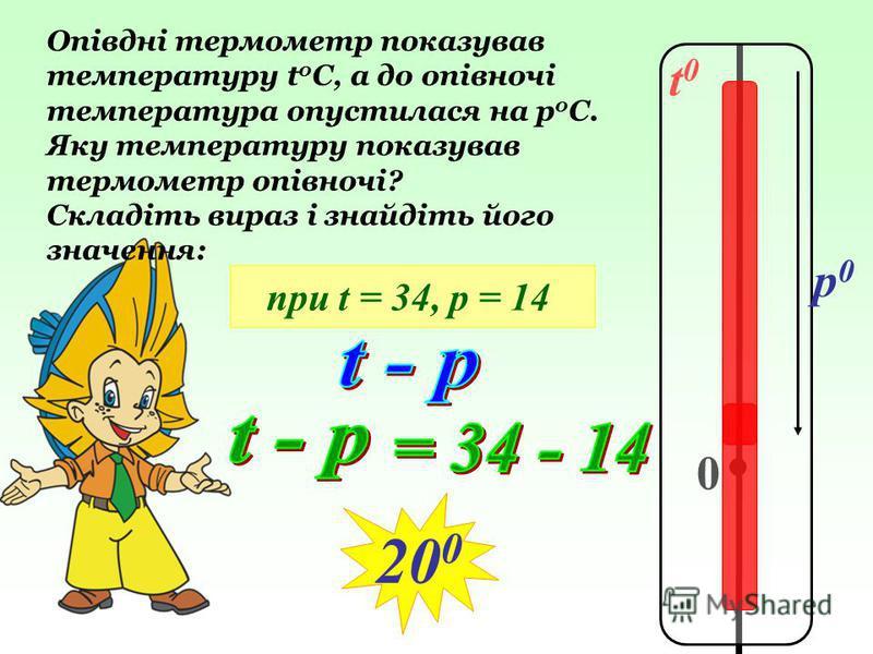 t0t0 0 p0p0 Опівдні термометр показував температуру t 0 C, а до опівночі температура опустилася на р 0 С. Яку температуру показував термометр опівночі? Складіть вираз і знайдіть його значення: при t = 34, р = 14 20 0