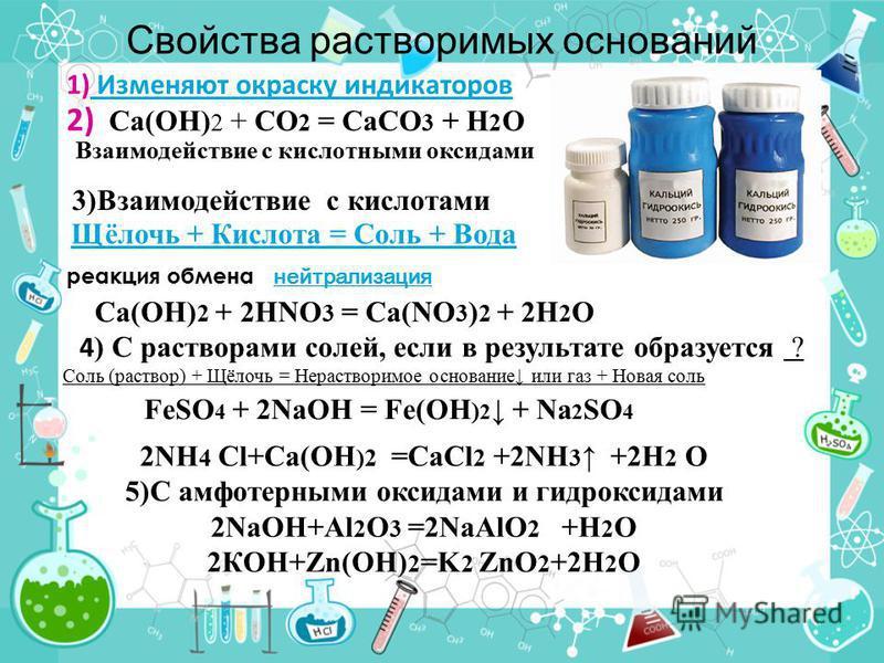 Свойства растворимых оснований Щёлочь + Кислота = Соль + Вода 1) Изменяют окраску индикаторов Изменяют окраску индикаторов Взаимодействие с кислотными оксидами 2) Ca(OH) 2 + CO 2 = CaCO 3 + H 2 O 3)Взаимодействие с кислотами реакция обмена нейтрализа