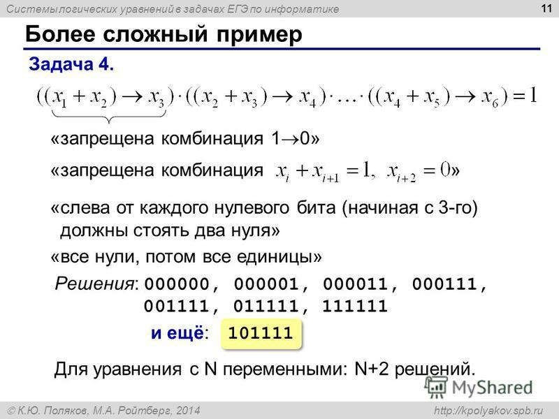 Системы логических уравнений в задачах ЕГЭ по информатике К.Ю. Поляков, М.А. Ройтберг, 2014 http://kpolyakov.spb.ru Более сложный пример 11 Задача 4. «запрещена комбинация 1 0» Решения: 000000, 000001, 000011, 000111, 001111, 011111, 111111 «слева от