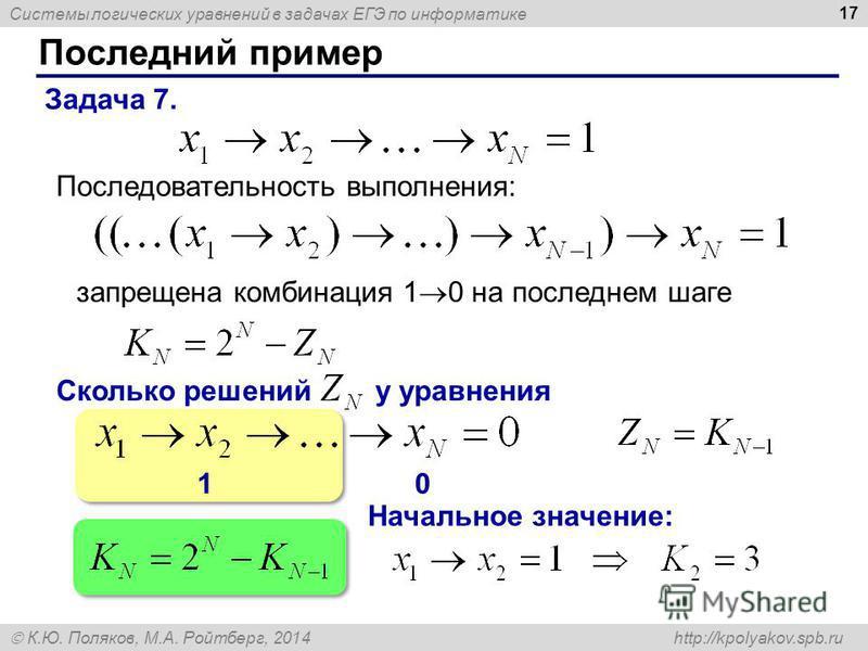 Системы логических уравнений в задачах ЕГЭ по информатике К.Ю. Поляков, М.А. Ройтберг, 2014 http://kpolyakov.spb.ru 10 Последний пример 17 Задача 7. Последовательность выполнения: запрещена комбинация 1 0 на последнем шаге Сколько решений у уравнения