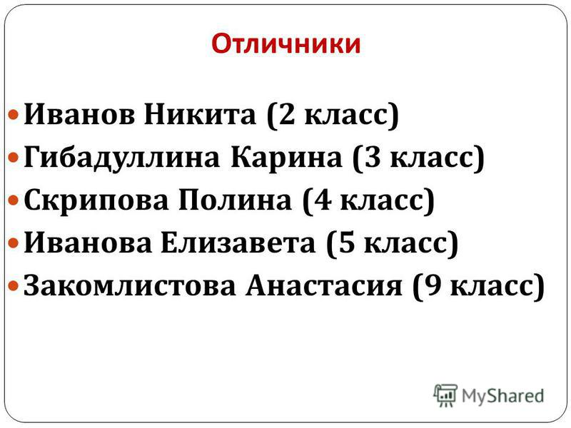 Отличники Иванов Никита (2 класс ) Гибадуллина Карина (3 класс ) Скрипова Полина (4 класс ) Иванова Елизавета (5 класс ) Закомлистова Анастасия (9 класс )
