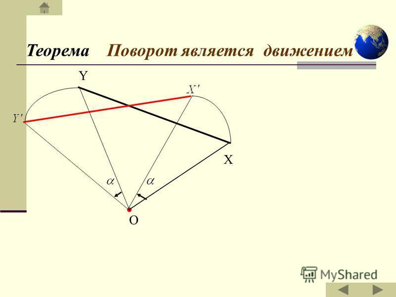 Поворотом фигуры F вокруг центра O на данный угол φ (0° φ 180°) в данном направлении называется такое ее преобразование, при котором каждой точке X Є X Є F сопоставляется точка X' так, что О X φ x'