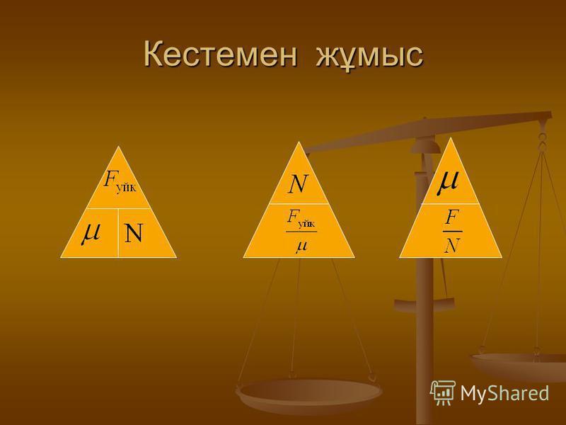 Үйкеліс күші Нормаль қысым күші N=mg Ауырлық күші Үйкелетін материалдар тегіне байланысты