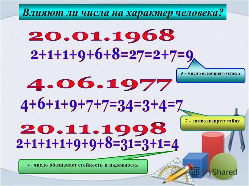 Влияют ли числа на характер человека? 9 – число всеобщего успеха 7 – символизирует тайну 4 - число обозначает стойкость и надежность