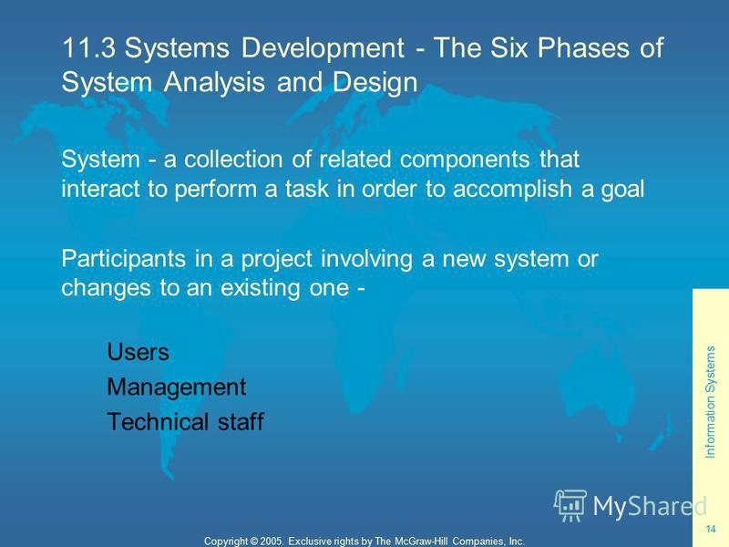 Information Systems 14 Copyright © 2005. Exclusive rights by The McGraw-Hill Companies, Inc. 11.3 Systems Development - The Six Phases of System Analysis and Design System - a collection of related components that interact to perform a task in order