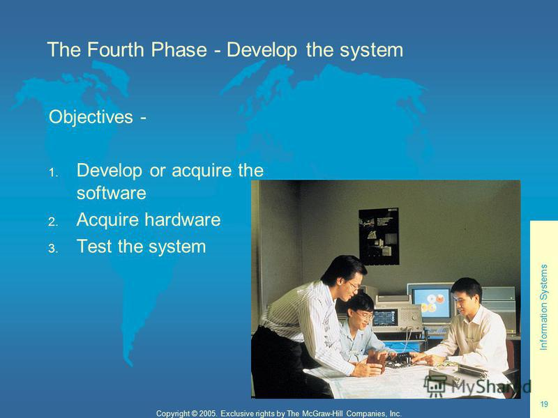 Information Systems 19 Copyright © 2005. Exclusive rights by The McGraw-Hill Companies, Inc. The Fourth Phase - Develop the system Objectives - 1. Develop or acquire the software 2. Acquire hardware 3. Test the system