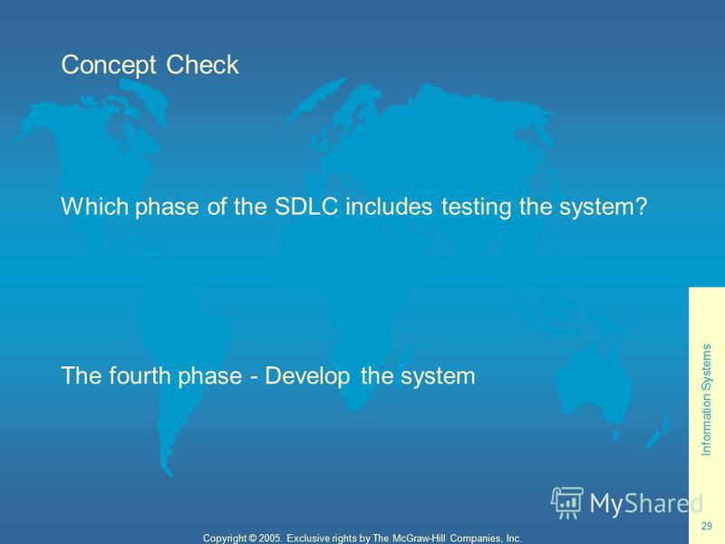 Information Systems 29 Copyright © 2005. Exclusive rights by The McGraw-Hill Companies, Inc. Concept Check Which phase of the SDLC includes testing the system? The fourth phase - Develop the system