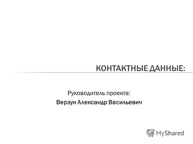 Руководитель проекта: Верзун Александр Васильевич КОНТАКТНЫЕ ДАННЫЕ: