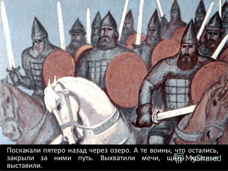 Поскакали пятеро назад через озеро. А те воины, что остались, закрыли за ними путь. Выхватили мечи, щиты красные выставили.