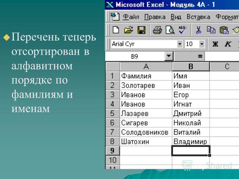 Перечень теперь отсортирован в алфавитном порядке по фамилиям и именам