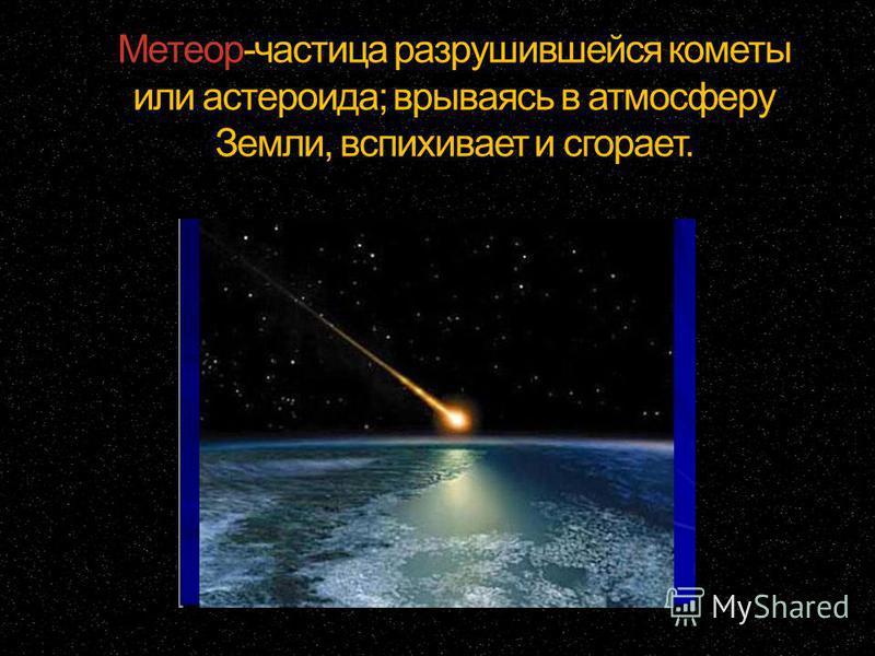 Метеор-частица разрушившейся кометы или астероида; врываясь в атмосферу Земли, вспыхивает и сгорает.
