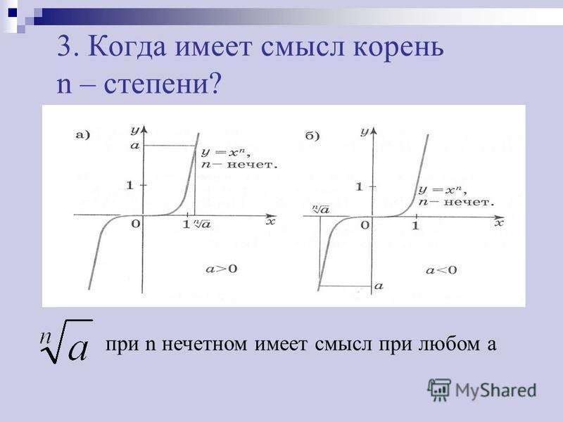 3. Когда имеет смысл корень n – степени? при n нечетном имеет смысл при любом a