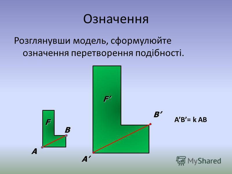 Означення Розглянувши модель, сформулюйте означення перетворення подібності. B A F B A F AB= k AB