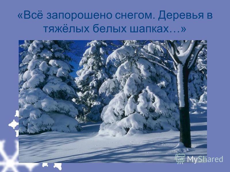 «Всё запорошено снегом. Деревья в тяжёлых белых шапках…»