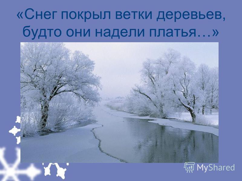 «Снег покрыл ветки деревьев, будто они надели платья…»