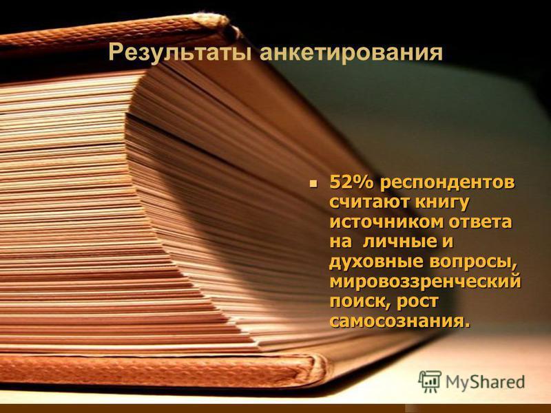 Результаты анкетирования 52% респондентов считают книгу источником ответа на личные и духовные вопросы, мировоззренческий поиск, рост самосознания. 52% респондентов считают книгу источником ответа на личные и духовные вопросы, мировоззренческий поиск