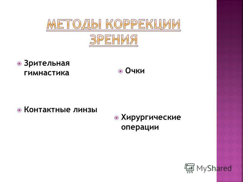 Очки Хирургические операции Контактные линзы Зрительная гимнастика