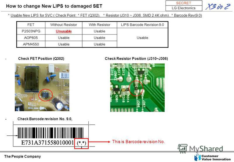 The People Company SECRET LG Electronics * Usable New LIPS for SVC ( Check Point : * FET (Q302), * Resistor (J310 ~ J306, SMD 2.4K ohm), * Barcode Rev(9.0) - Check FET Position (Q302) Check Resistor Position (J310~J306) - Check Barcode revision No. 9