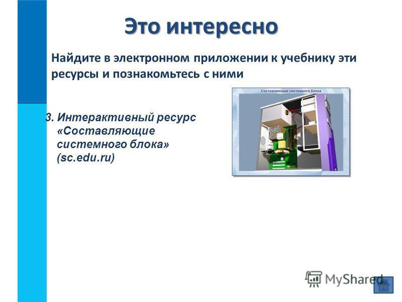 Это интересно Найдите в электронном приложении к учебнику эти ресурсы и познакомьтесь с ними 3. Интерактивный ресурс «Составляющие системного блока» (sc.edu.ru)