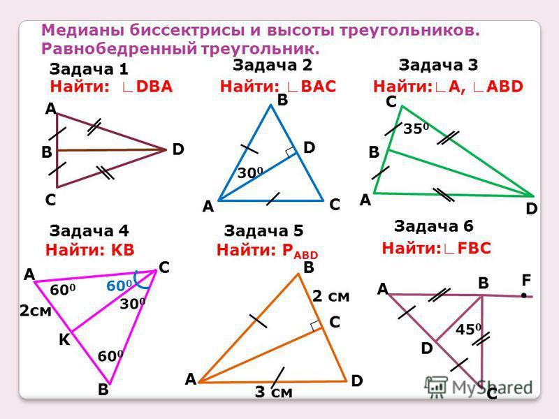 Медианы биссектрисы и высоты треугольников. Равнобедренный треугольник. Задача 1 Задача 2Задача 3 Задача 4Задача 5 Задача 6 B D A C Найти: DBA A C D B 30 0 Найти: BAC B D A C 35 0 Найти: A, ABD Найти: KBНайти: P ABD Найти: FBC 2 см C A K B 60 0 30 0